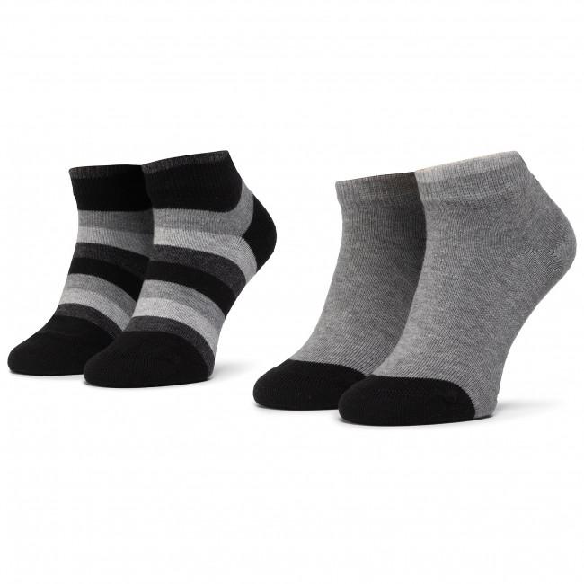 Súprava 2 párov kotníkových ponožiek detských TOMMY HILFIGER - 354010001 Black 200