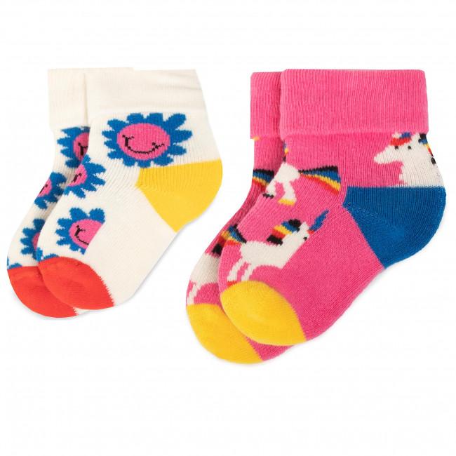 Súprava 2 párov vysokých ponožiek detských HAPPY SOCKS - KUNI45-3300 Farebná