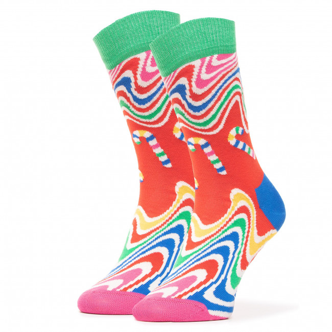 Ponožky Vysoké Dámske HAPPY SOCKS - PCC01-4300 Červená Farebná