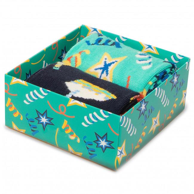Súprava 2 párov vysokých ponožiek unisex HAPPY SOCKS - XBDC02-6500 Farebná Zelená