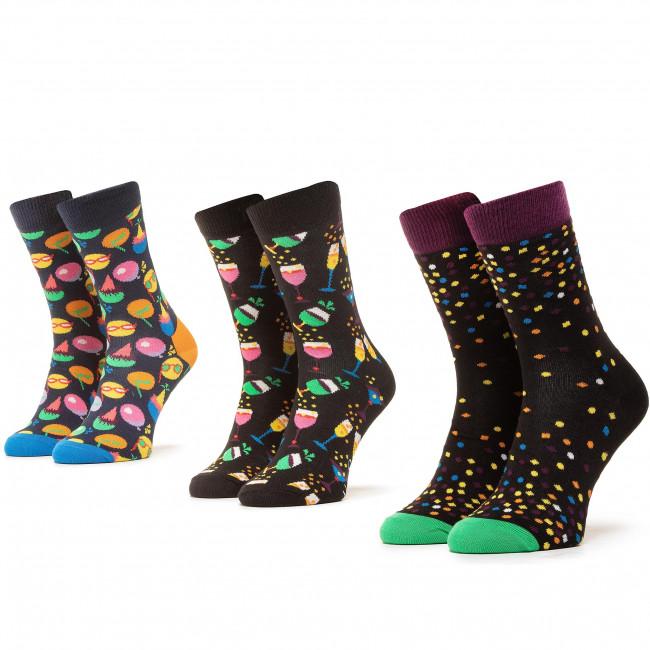 Súprava 3 párov vysokých ponožiek unisex HAPPY SOCKS - XCEL08-9300 Čierna Farebná