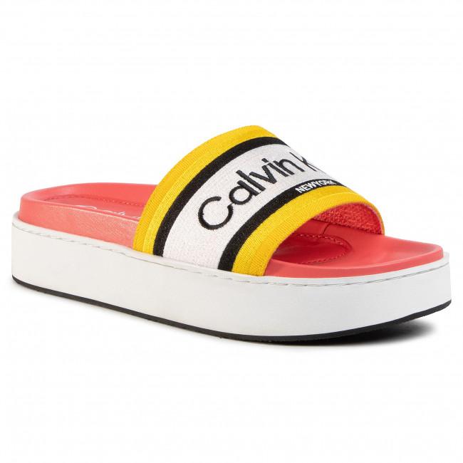 Šľapky CALVIN KLEIN - Jaimee B4E7951  Black/Scuba Yellow