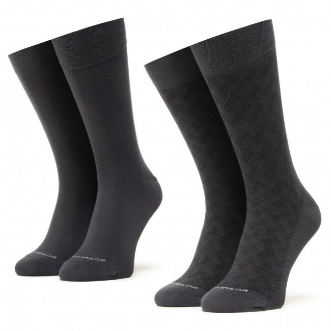 Súprava 2 párov vysokých ponožiek unisex TOM TAILOR - 90185 Structure Anthracite 620