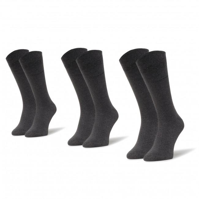 Súprava 3 párov vysokých ponožiek unisex TOM TAILOR - 9003 Anthracite 620