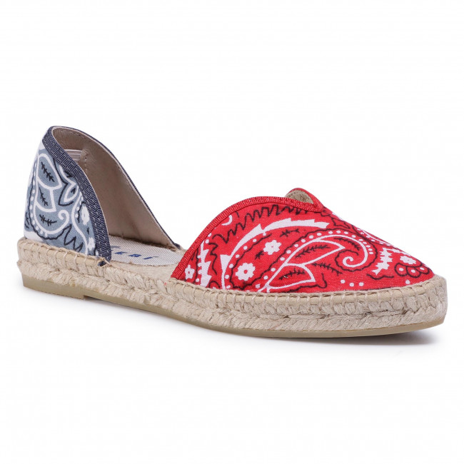 Espadrilky MANEBI - Open-Side Flats F 9.4 O0 Red Grey Bandana