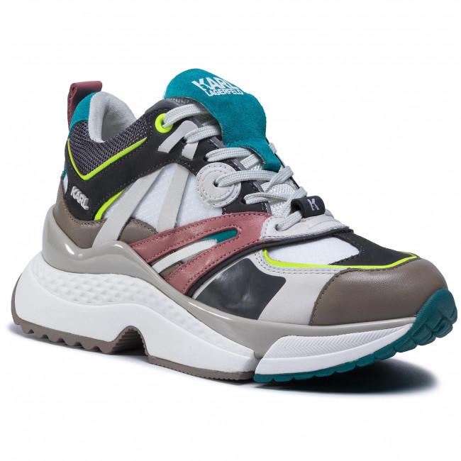 Sneakersy KARL LAGERFELD - KL61637 White Lth/Txt W/Dk Grey