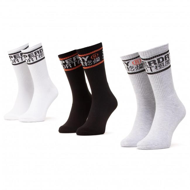Súprava 3 párov vysokých ponožiek unisex SUPERDRY - Coolmax Crew Sock 3Pk MS400010A Mono Multipack 0TP