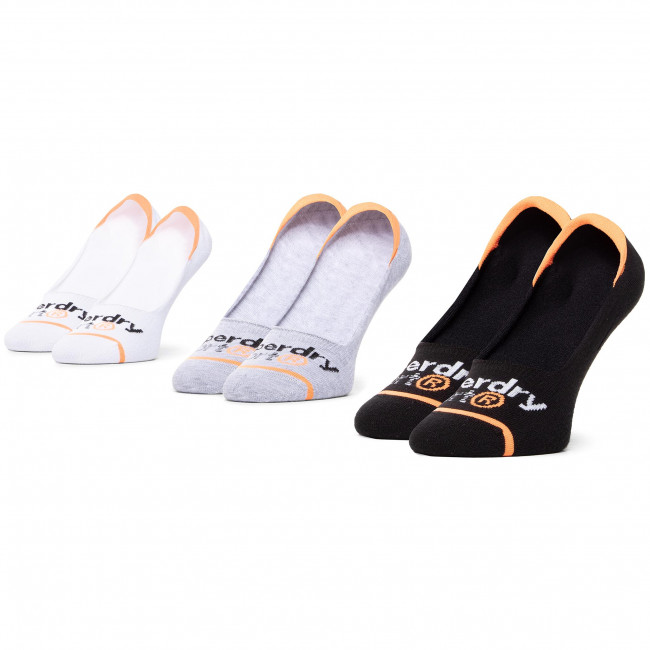 Súprava 3 párov kotníkových ponožiek dámských SUPERDRY - MS400011A Optic/Black/Steel Melange