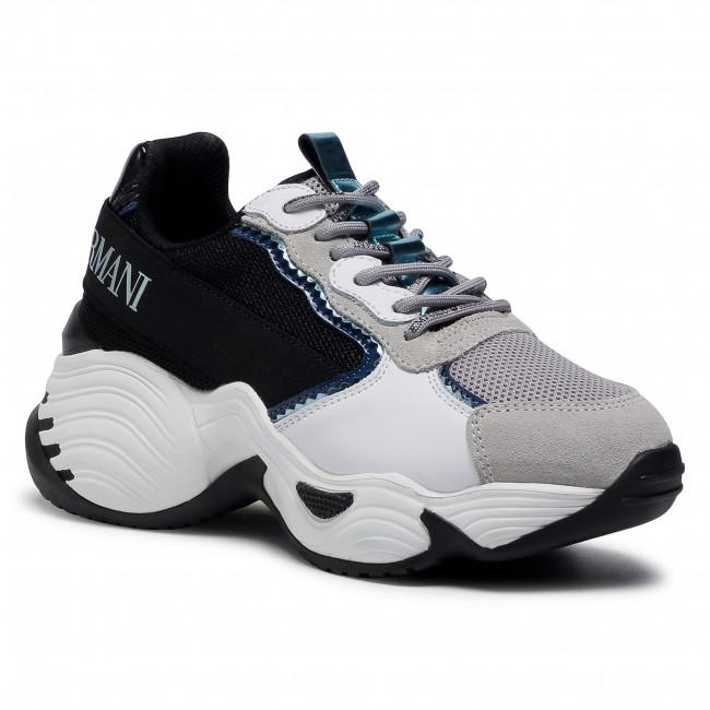 Sneakersy EMPORIO ARMANI - X3X088 XM059 N104 Pla/Gre/Blk/Ott/Pavo