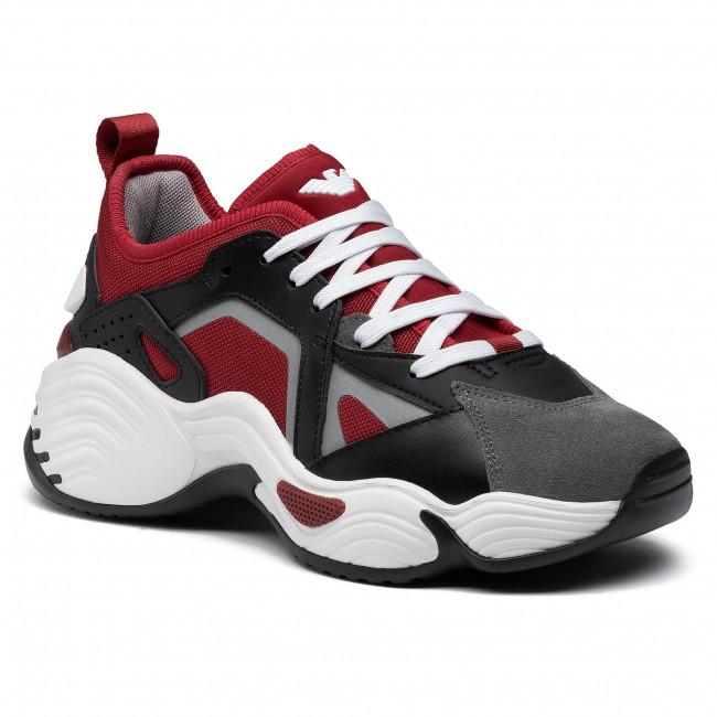 Sneakersy EMPORIO ARMANI - X4X286 XM502 N034 Ash/Blk/Mat Blk/Ruby