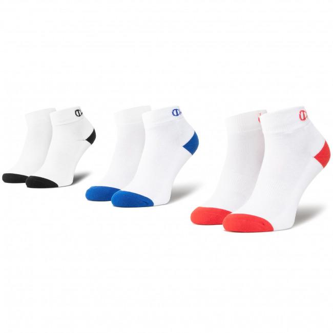 Súprava 3 párov kotníkových ponožiek unisex CHAMPION - CH00082D 8LZ Wht Col Toe