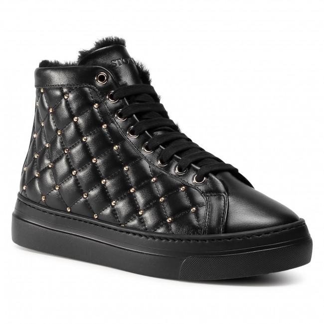 Sneakersy STOKTON - 120-D Vitello Nero/Acc Oro