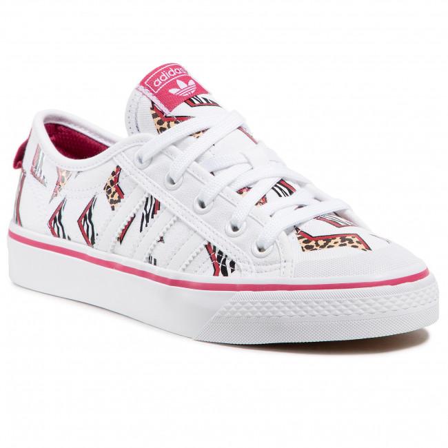 Topánky adidas - Nizza J FY8433 Ftwwht/Ftwwht/Wilpnk