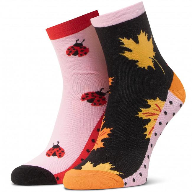 Ponožky Vysoké Dámske DOTS SOCKS - DTS-SX-459-R Čierna Farebná Ružová