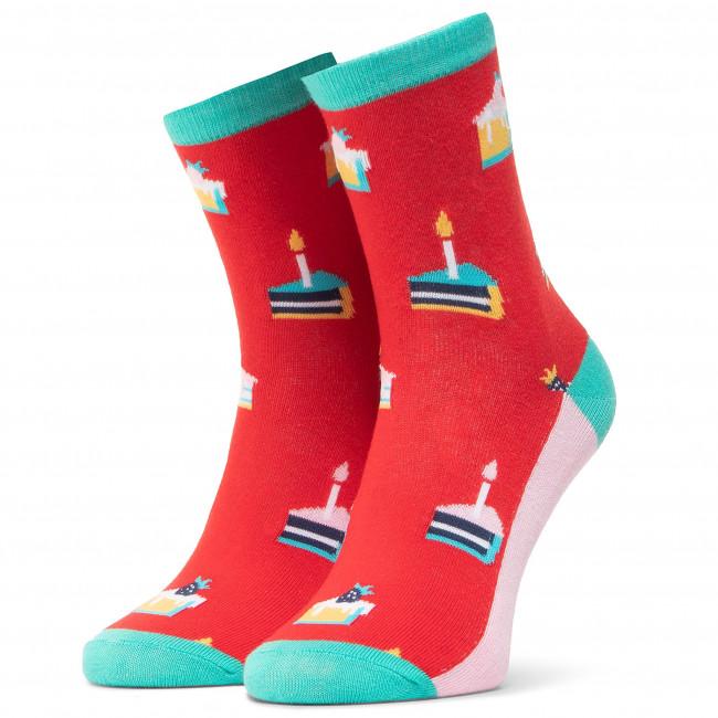Ponožky Vysoké Unisex DOTS SOCKS - DTS-SX-461-W Červená Farebná