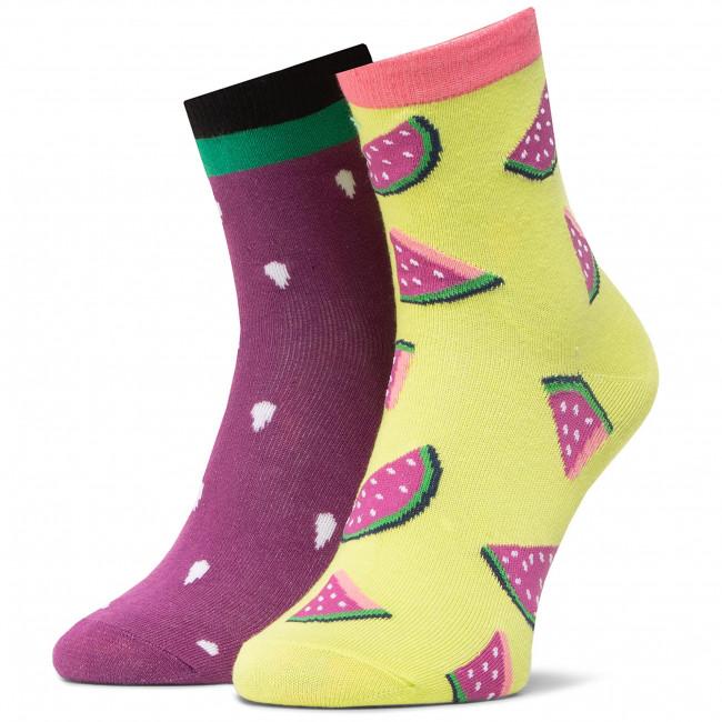 Ponožky Vysoké Unisex DOTS SOCKS - DTS-SX-462-R Farebná Fialová Žltá