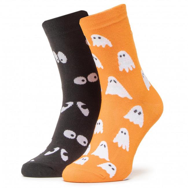 Ponožky Vysoké Unisex DOTS SOCKS - DTS-SX-487-X Čierna Oranžová