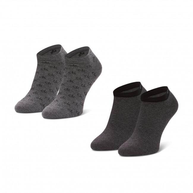 Súprava 2 párov kotníkových ponožiek pánských CALVIN KLEIN - 100001762 Grey Combo 002