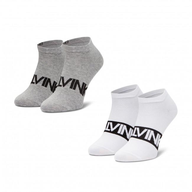 Súprava 2 párov kotníkových ponožiek pánských CALVIN KLEIN - 100001857 White Combo 001
