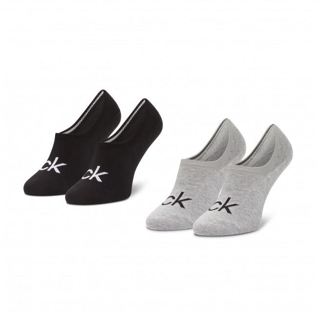 Súprava 2 párov krátkych ponožiek pánskych CALVIN KLEIN - 100001867 Grey Melange/Black 003