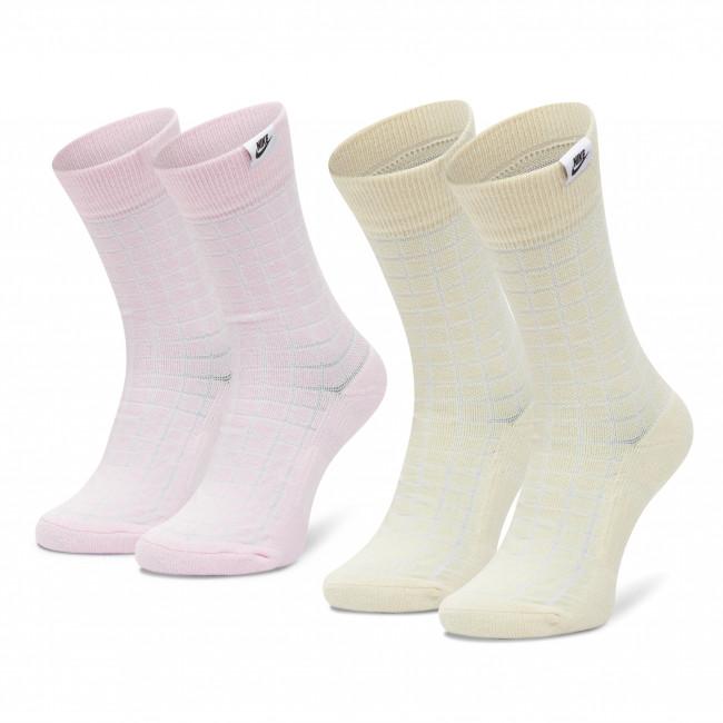 Súprava 2 párov vysokých ponožiek unisex NIKE - CK5590-902 Béžová Ružová