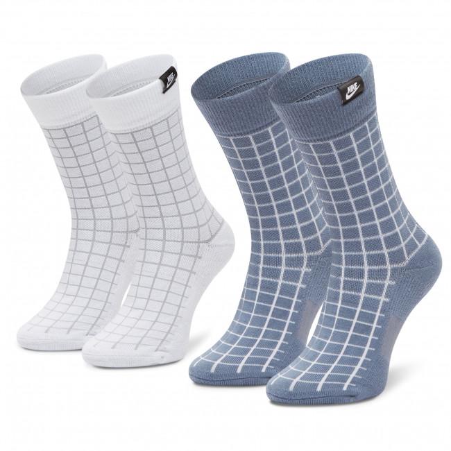 Súprava 2 párov vysokých ponožiek unisex NIKE - CK5590-904 Biela Modrá