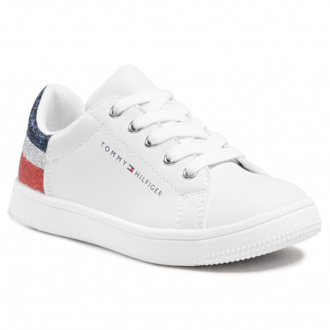Sneakersy TOMMY HILFIGER - Low Cut Lace-Up Sneaker T3A4-31019-1161 M White/Multicolor X256