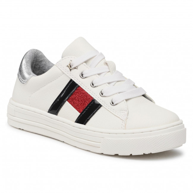 Sneakersy TOMMY HILFIGER - Low Cut Lace-Up Sneaker T3A4-31023-0813 M White/Multicolor X256