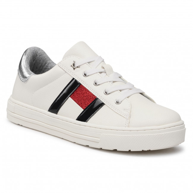 Sneakersy TOMMY HILFIGER - Low Cut Lace-Up Sneaker T3A4-31023-0813 S White/Multicolor X256