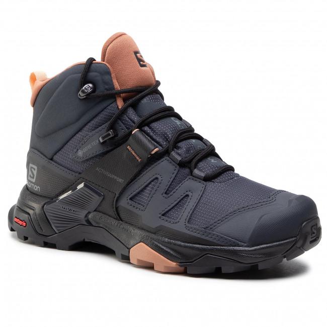 Trekingová obuv SALOMON - X Ultra 4 Mid Gtx W GORE-TEX 412956 20 V0 Ebony/Mocha Mousse/Almond Creame