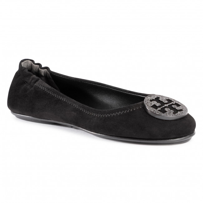 Baleríny TORY BURCH - Minnie Travel Ballet With Pave 79197 Perfect Black 006