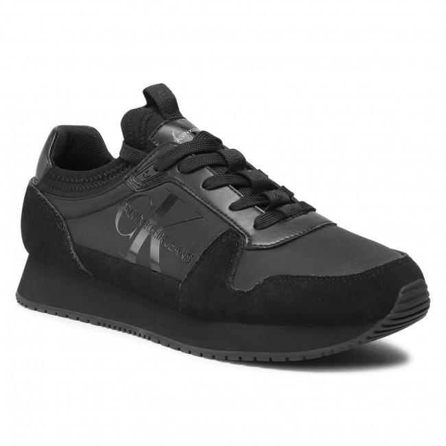 Sneakersy CALVIN KLEIN JEANS - Runner Sock Laceup Ny-Lth YM0YM00040 Black BEH