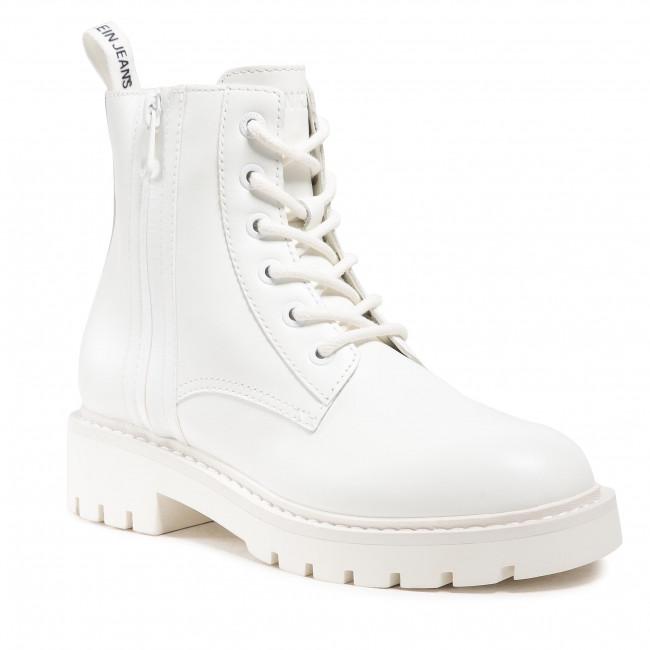 Členkové čižmy CALVIN KLEIN JEANS - Mid Boot Laceup YW0YW00008 Bright White YAF