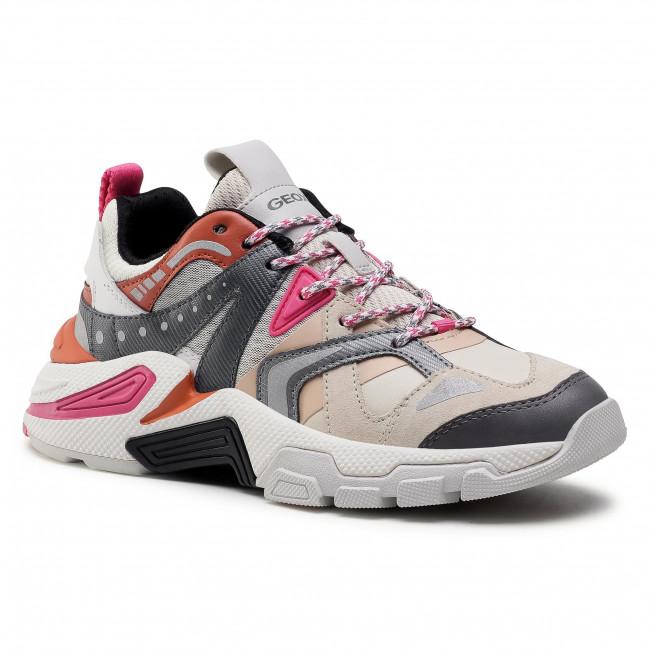 Sneakersy GEOX - T01 A T94BTA 01443 C0840  Lt Beige/ Dk Grey