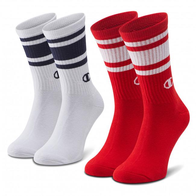 Súprava 2 párov vysokých ponožiek pánskych CHAMPION - CH0008SU-9GG White/Red