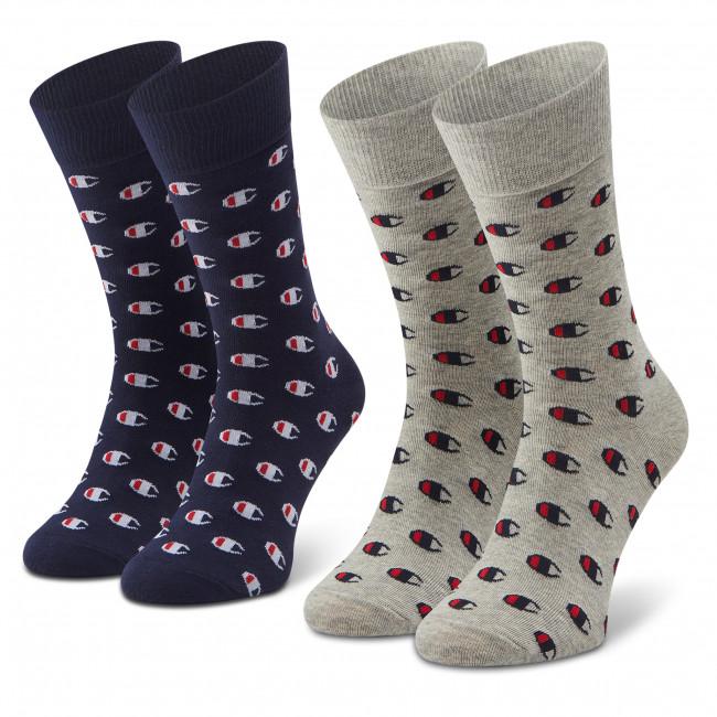 Súprava 2 párov vysokých ponožiek unisex CHAMPION - CH0009LN-9GE Blk/Nvy