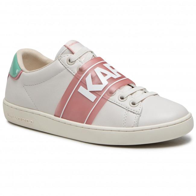 Sneakersy KARL LAGERFELD - KL61237  Off White Lthr W/Aqua