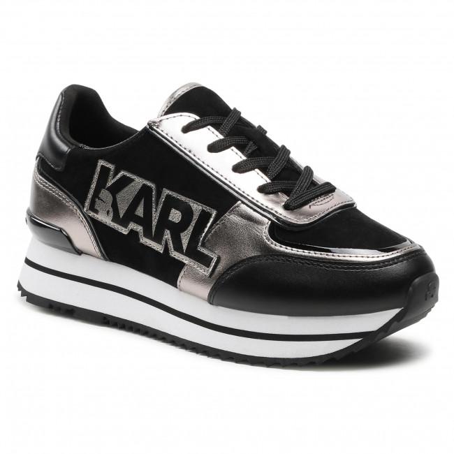 Sneakersy KARL LAGERFELD - KL61940 Black Lthr/Sde W/Silver