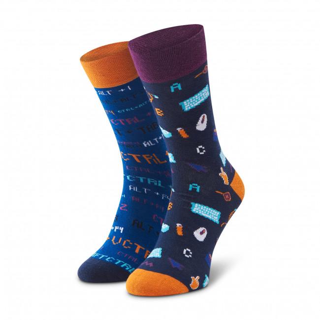 Ponožky Vysoké Pánske DOTS SOCKS - D20WF-SX-030-X Modrá Tmavo modrá