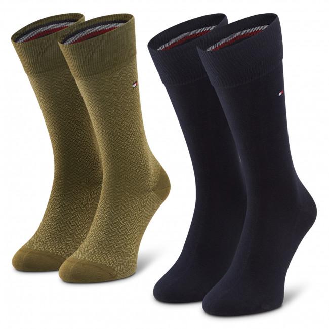 Súprava 2 párov vysokých ponožiek pánskych TOMMY HILFIGER - 100001199  Olive 003