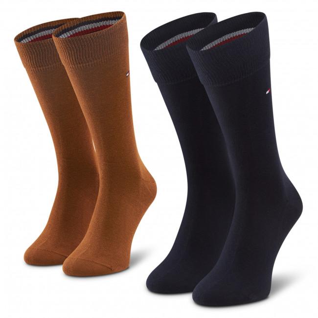 Súprava 2 párov vysokých ponožiek pánskych TOMMY HILFIGER - 371111  Highland Khaki 049