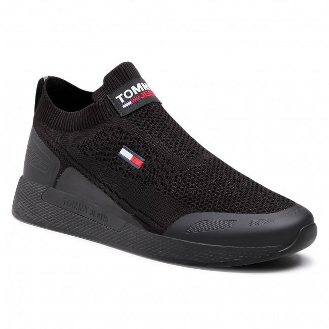 Sneakersy TOMMY JEANS - Flexi Sock Runner EM0EM00664 Black BDS