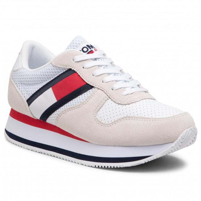 Sneakersy TOMMY JEANS - Flatform Runner EN0EN01357 White YBR