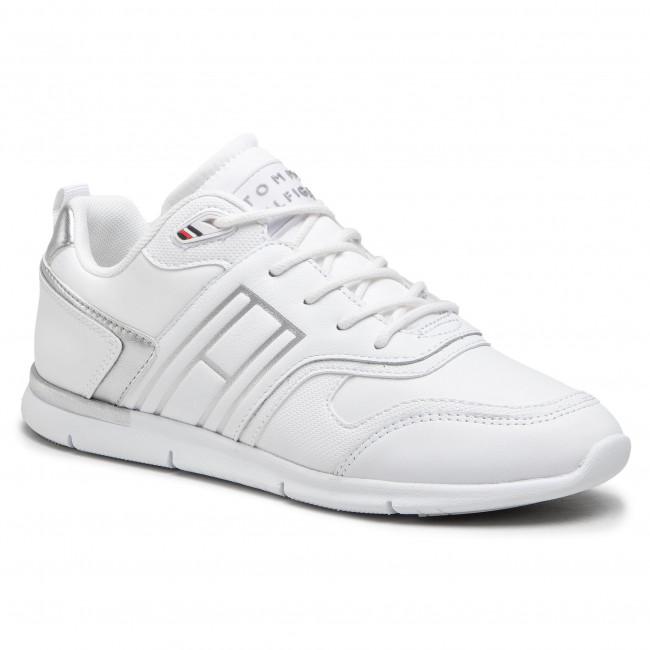 Sneakersy TOMMY HILFIGER - Metallic Lightweight Sneaker FW0FW05693 White YBR