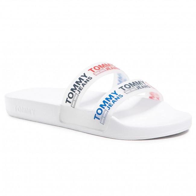 Šľapky TOMMY JEANS - Double Strap Pool Slide EN0EN01304 White YBR