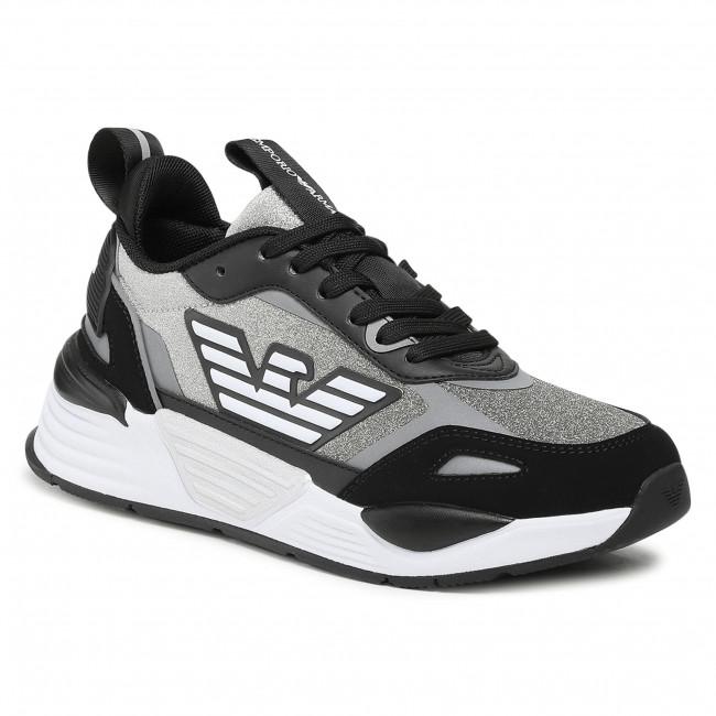 Sneakersy EMPORIO ARMANI - X3X126 XM722 T373 Blk/Blk/Silv/Blk/Sil
