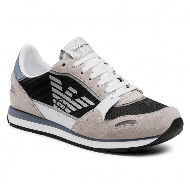 Sneakersy EMPORIO ARMANI - X4X537 XM678 Q091 Plast/Op. Wht/Navy/Gr