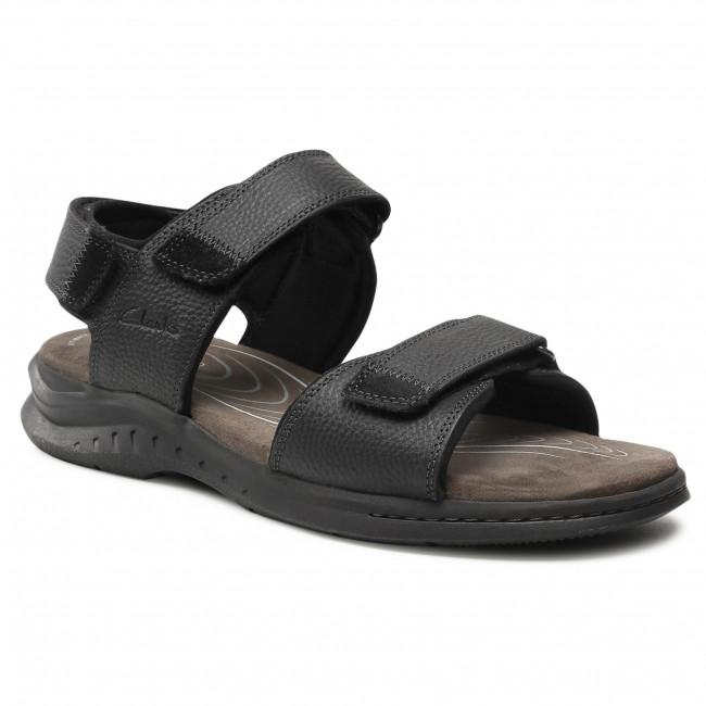 Sandále CLARKS - Hapsford Creek 261594787  Blk Tumbled Leather