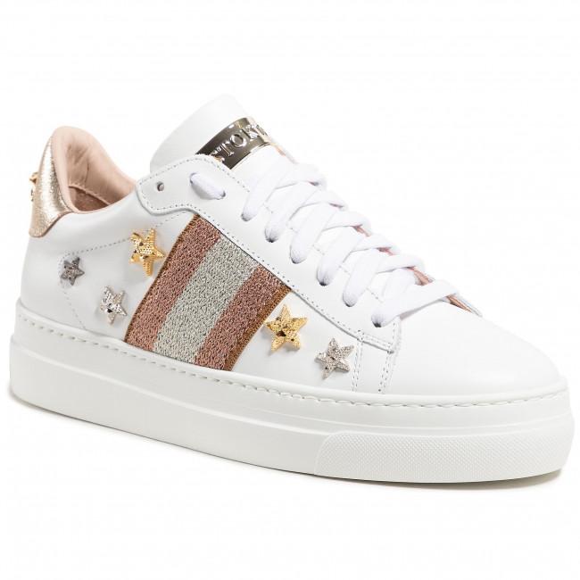 Sneakersy STOKTON - 769-D-SS21-UP Vitello Bianco/Elastico Spugna Cipria/Silver