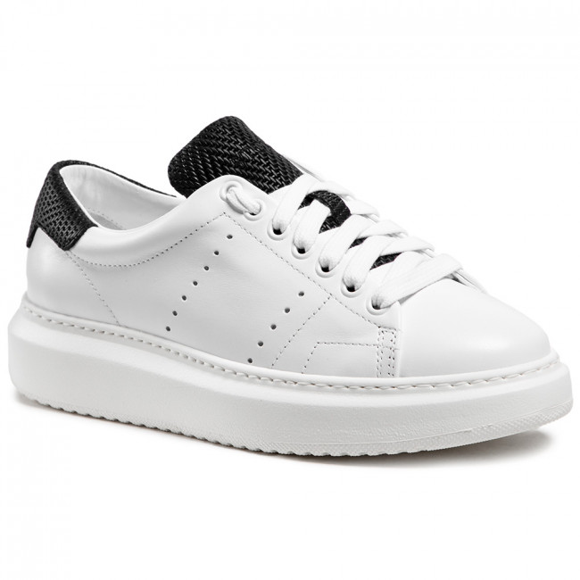 Sneakersy STOKTON - Burma Vitello Bianco/Rafia Nera